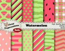 Watermeloen papier in tinten van groen en roze met leuke ontwerpt met inbegrip van zaad polka dots, driehoek segmenten, picknick plaid, golven, strepen, enz