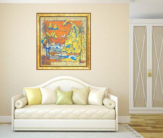 Fine art print yellow orange blue giclee print by MarilionFineArt