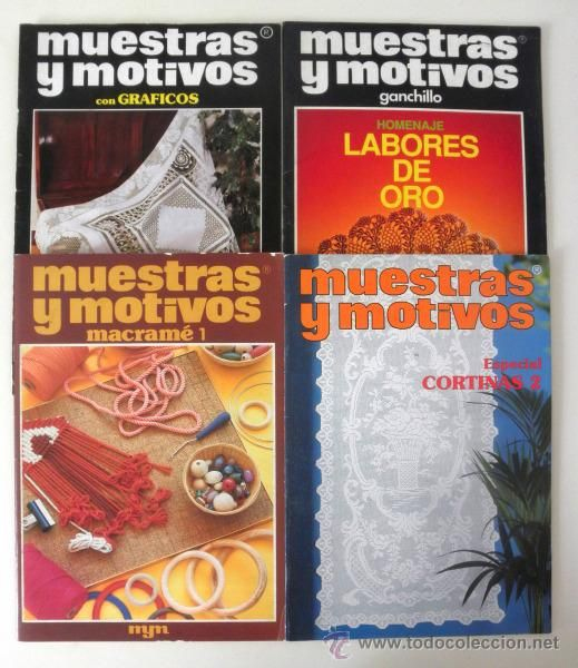 Lote 4 revistas de muestras y motivos especial cortinas for Cortinas de ganchillo
