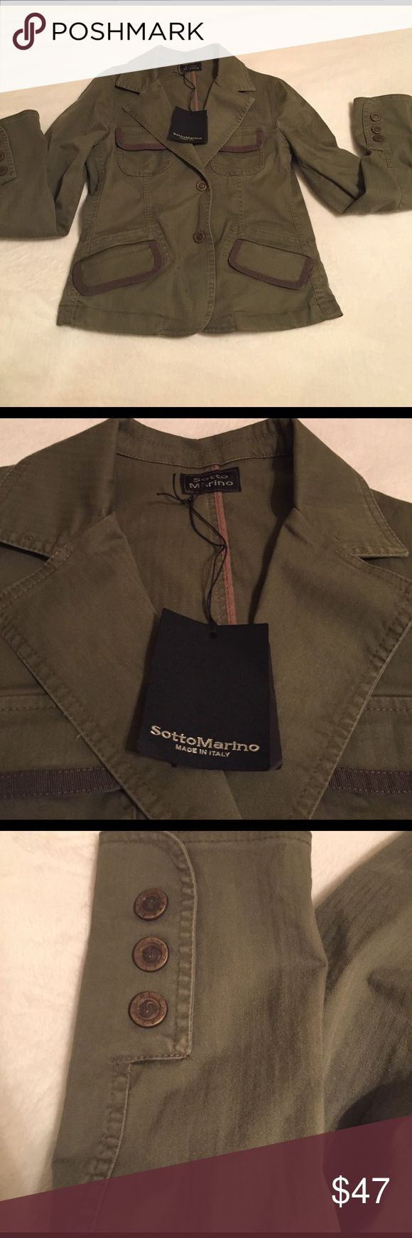 Sotto Marino Olive Green Jacket (Medium) Olive green Sotto Marino jacket made in Italy. Medium size with two front buttons. Never been worn new with tags. 97% cotton Sotto Marino Jackets & Coats