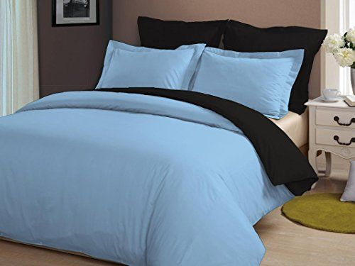 DUVET COVER SET KING SIZE BLACK SOLID 800 THREAD COUNT 100/% EGYPTIAN COTTON