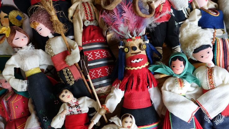 Group of national costume dolls from Bulgaria