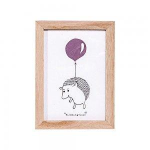 Obrazek w ramce, jeżyk z balonikiem, róż - Bloomingville