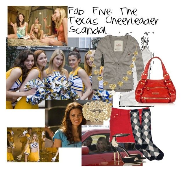 """Fab Five: The Texas Cheerleader Scandal"" by dejaalexislovesyouback ❤ liked on Polyvore featuring Abercrombie & Fitch, Hollister Co., Celebrity Pink, CO, J.Crew, Torrini, Miu Miu and Jimmy Choo"