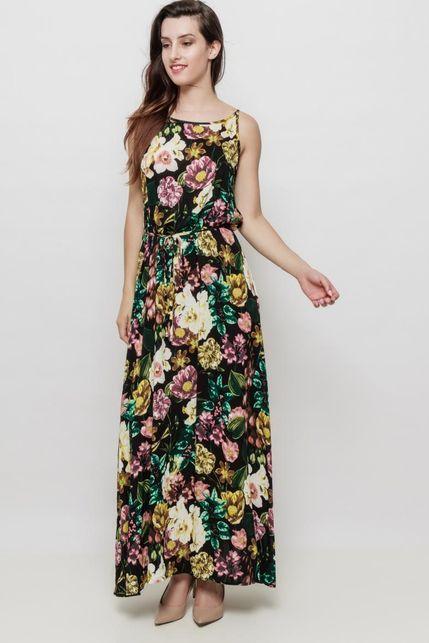 299be4938807 Dlhé čierne kvetované šaty na ramienka
