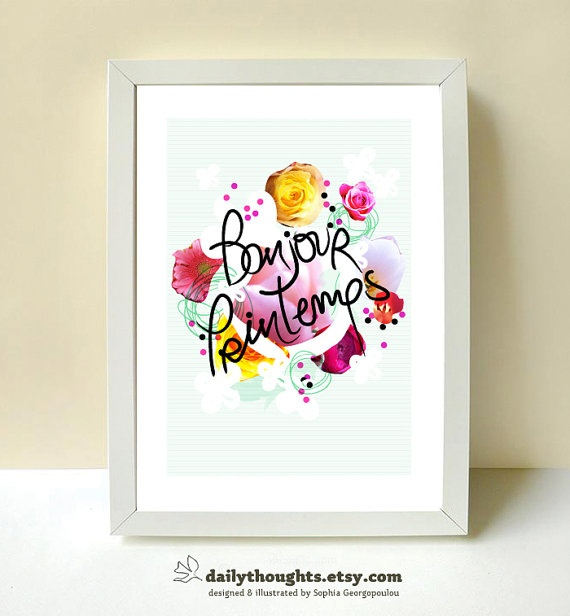 Bonjour Printemps A4 art print and by DailyThoughts on Etsy, €17.00