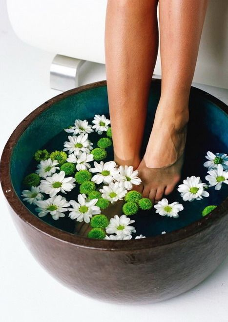Pamper your feet - seriously why not install a little tub in the bathroom to relax your feet, with its own little drain?