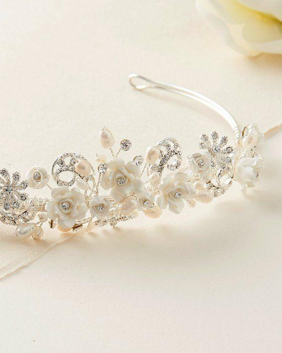Silver Wedding Bridal Rhinestone Crystal Tiaras Pearl Flower Hair Headpiece