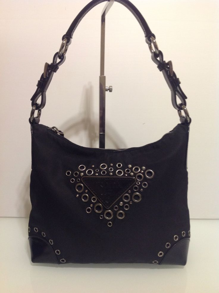 Authentic Prada Shoulder Tote In Black Tessuto Canvas Leather Trim Dust Bag 195 This Is A Guaranteed It Can Be Viewed And Tried At