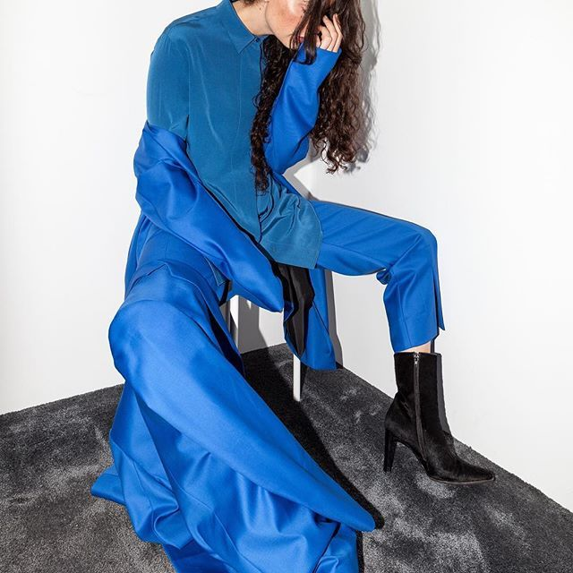 @sunnivahartgen in all blue, shot by @martinestenberg The blue Bianchi tailored capsule — a super 100s, Italian wool in both coat, blazer and trouser. See link in bio or visit our Concept Store in Parkveien 25, Oslo #aw17 #epiloguebyevaemanuelsen