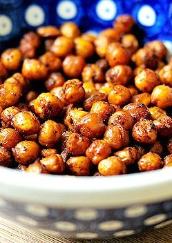 Roasted Garbanzos are a crunchy and healthy snack.