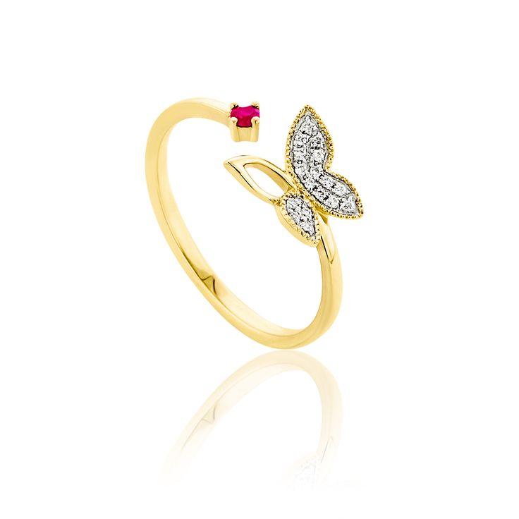 Δαχτυλίδι Symbols Collection από χρυσό 18Κ με μπριγιάν 0,06ct VS F/G και ροζ ζαφείρι 0.05ct.