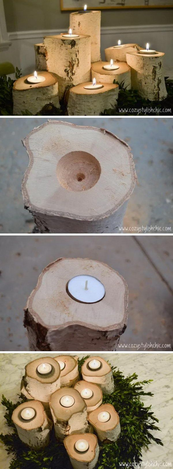Tree Stump Candle Holders.