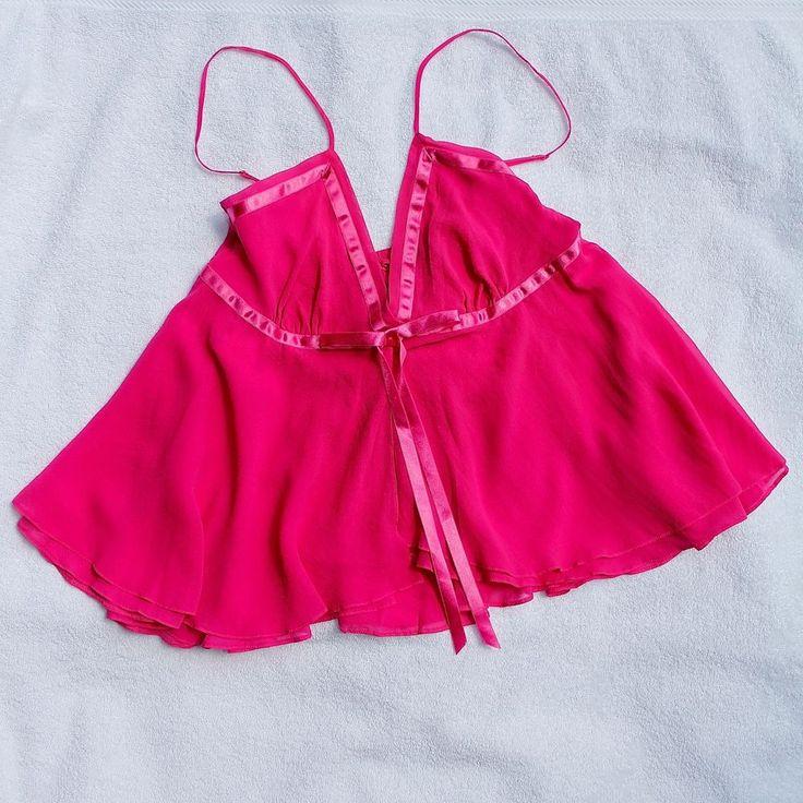 La Senza Pure Silk Chemise Camisole Sz 12 Pink BNWT