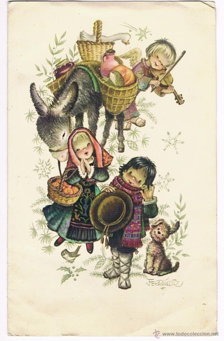 ferrandiz tarjeta de navidad grande postales navidad