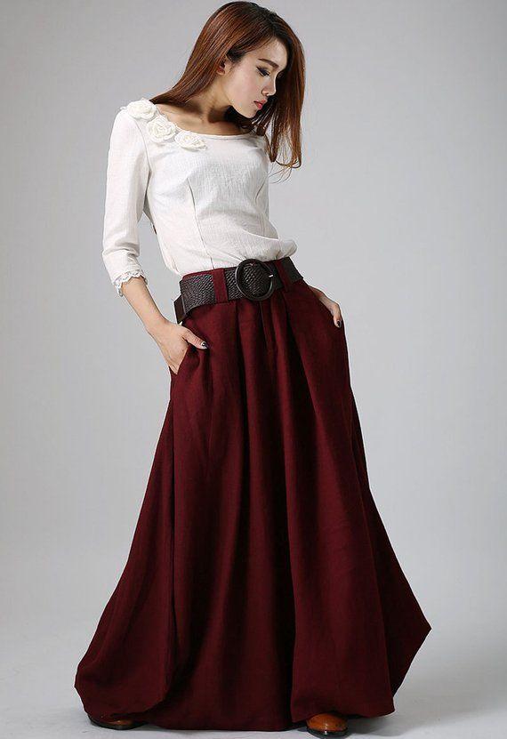 35f366022 Burgundy skirt, linen skirt, long linen skirt, wine red skirt, women ...