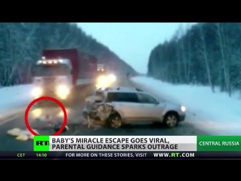 Dash Cam Captures Baby Miracle Escape, Survives Brutal Car Accident On Snowy Russian Road - Daily Megabyte