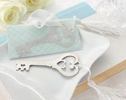 "Key to My Heart"" Heart-Shaped Key Bookmark with White-Silk Tassel"