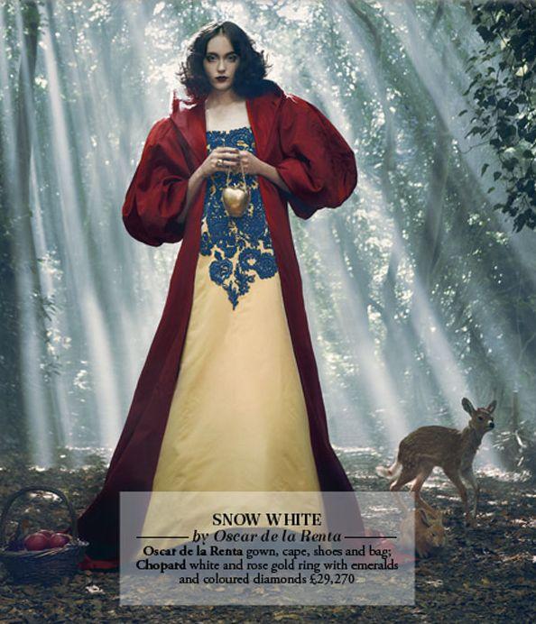 Snow White by Oscar de la Renta. Photo by Jason Ell for Harrods Magazine.