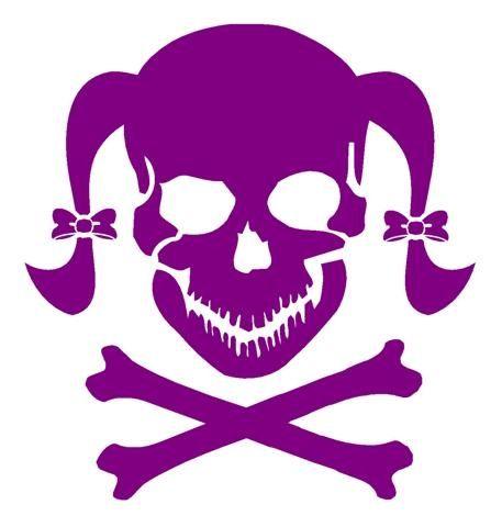 girly skull 3 vinyl decal