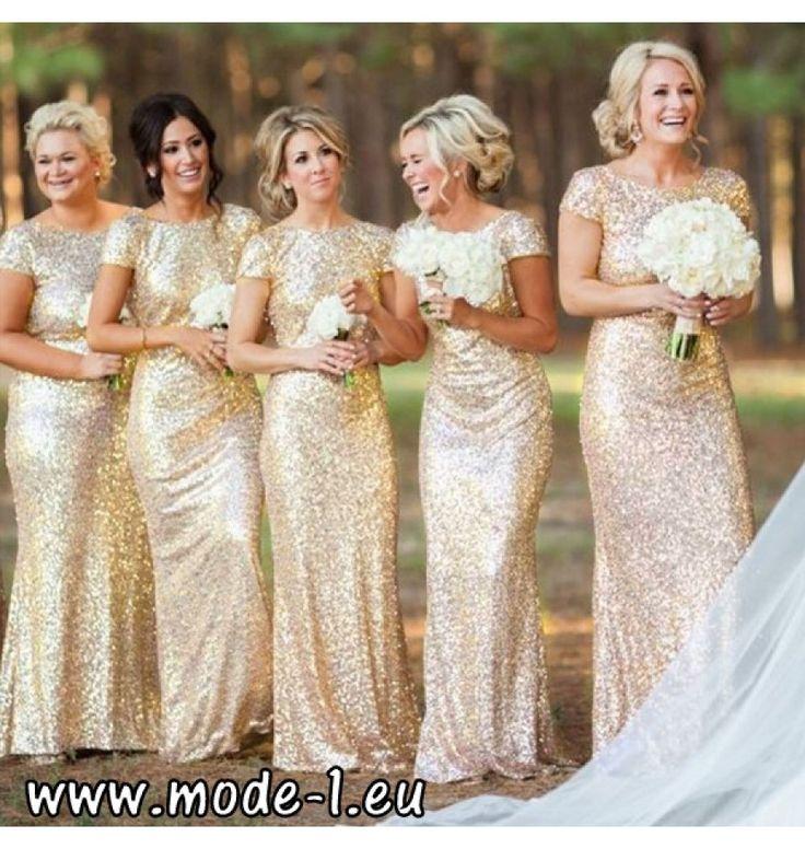 I Linie Pailletten Abendkleid 2018 in Gold