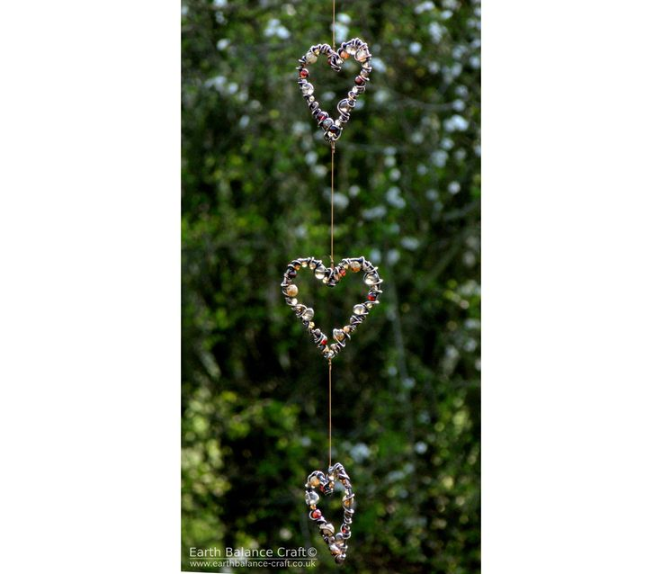 Earthy Love Heart Suncatcher with Polished Patina Copper, Agate and Quartz Stones. Hand Crafted Hanging Ornaments by Earth Balance Craft.