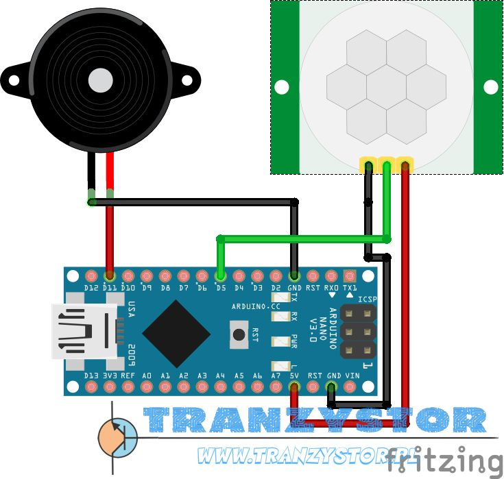 Mini alarm PIR HC-SR501