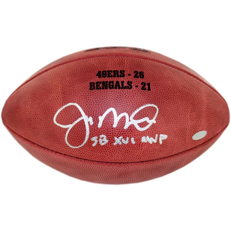Joe Montana Signed Super Bowl XVI Football wSB XVI MVP insc. & final score Engraved - 49ers Legend Joe Montana has personally hand-signed this Super Bowl XVI Football with the final score-Montanas ability to maintain a calm nature about him in key moments earned him the nickname Joe Cool. Montana started his NFL career in 1979 with the San Francisco 49ers where he played for the next 14 years of his career. Seen as the face of the 49ers Montana led them to four Super Bowls and won three…