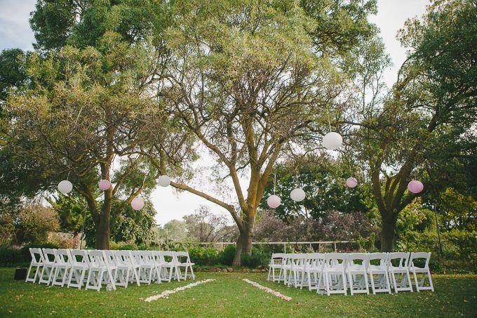 Garden ceremony set-up. (85) Nicole & Ben - Al Ru Farm Wedding. Photo by Jennifer Sando.
