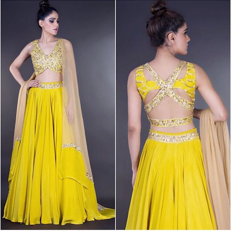 Indian fashion # lehenga # sexy back # yellow fever # indian weddings