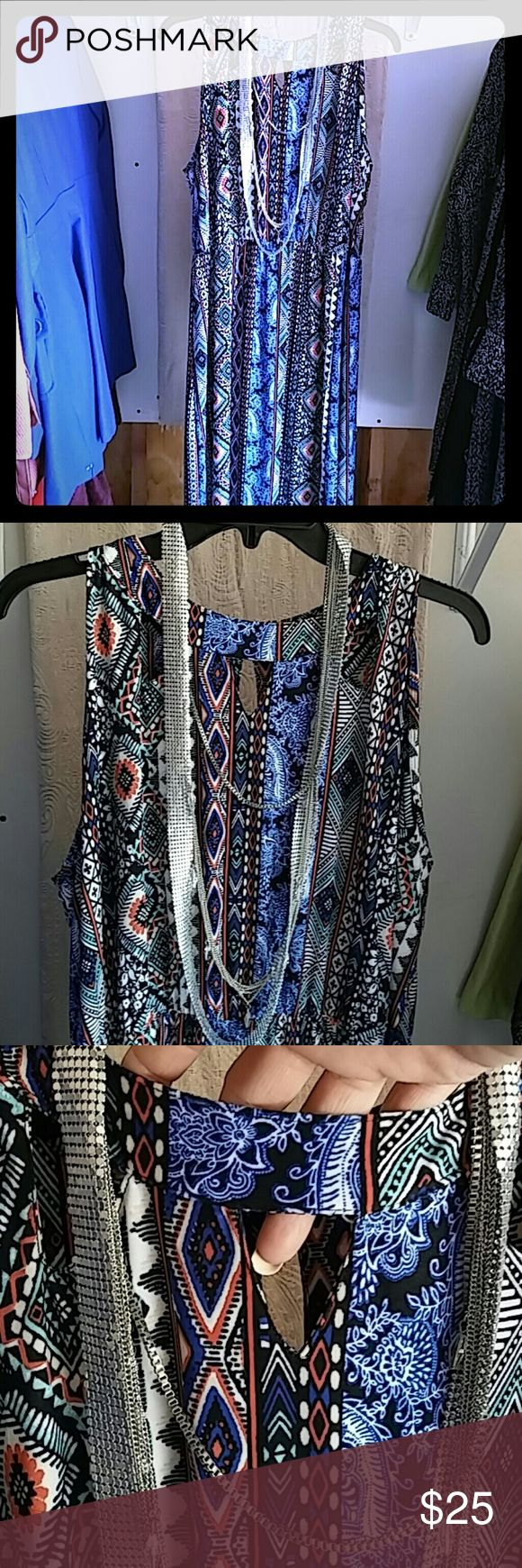 Beautiful sleeveless maxi dress Light weight, sleeveless maxi dress. Perfect for summer. Ankle length. Cutout embellishments around the neckline. Colorful Aztec design. Match this dress up with some metallic sandals and sparkling jewelry and you are ready for the day...or evening. French Laundry Dresses Maxi