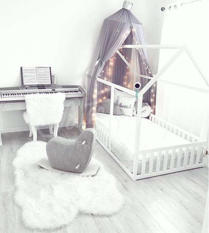 White And Grey Kids Room Interior Idea White House Frame Bed With Canopy Toddler Bed Twin Size Baby B Toddler Bedroom Design Baby Boy Bedroom Kids Room Grey