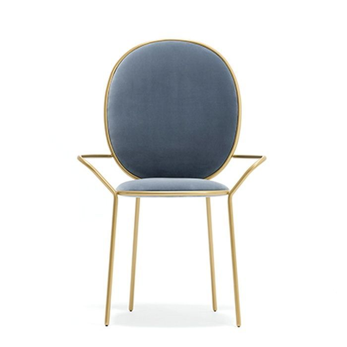 Sé London - elegant designer's dining chair in dusty-blue velvet and brass finish. Love this piece!