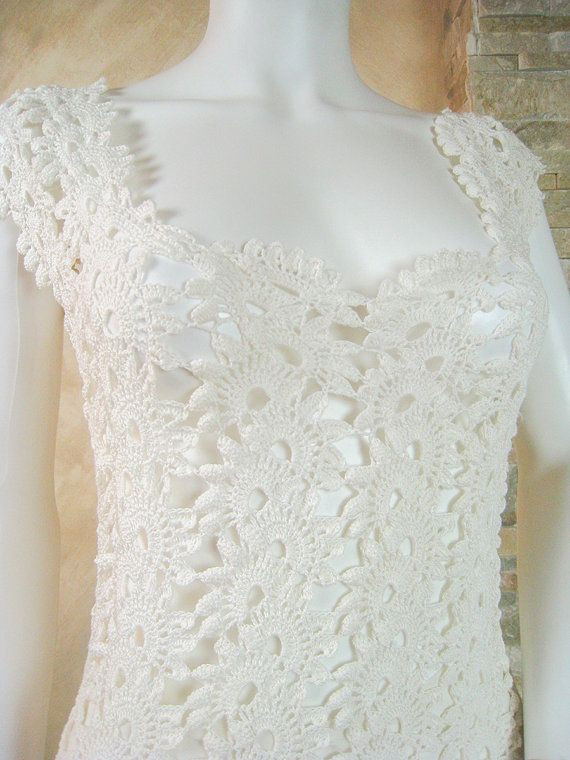 Exclusive ivory crochet lace wedding dress lace by LecrochetArt