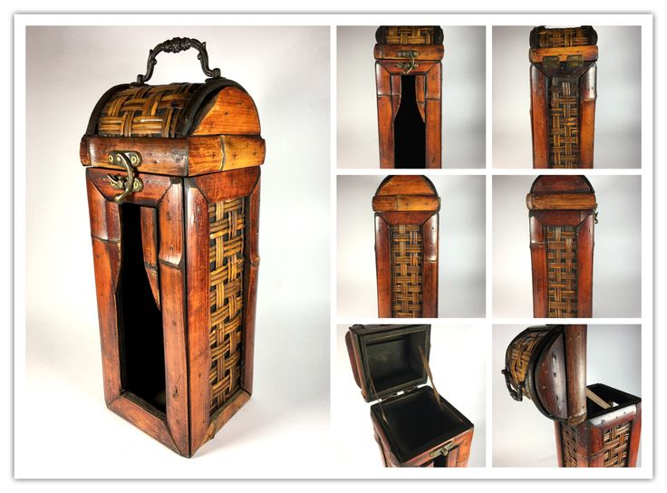 Vintage Japanese wine / sake bottle case from wood and bamboo with brass handles.