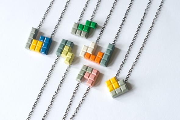 a collection of Tetromino pendants