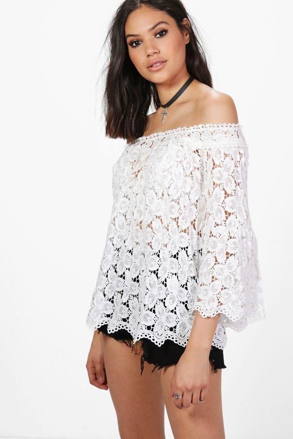 boohoo Isobel Crochet Bardot Top