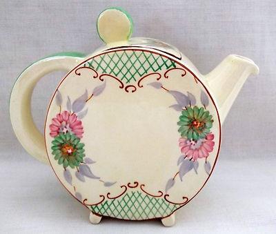 Clarice Cliff Early Sundew with Lattice Bonjour Tea Pot~C1930