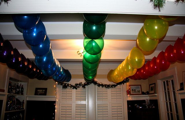 Pin ceiling decoration balloon decorationsbirthday party for Balloon decoration for ceiling