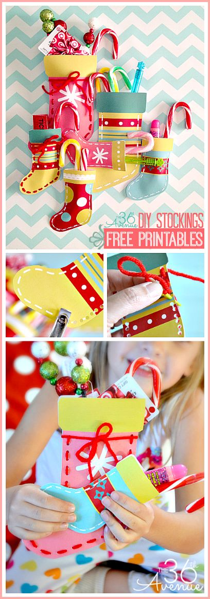 Make these DIY Christmas Stockings using the adorable FREE PRINTABLES at the36thavenue.com Such a cute way to give gift cards and small pres...