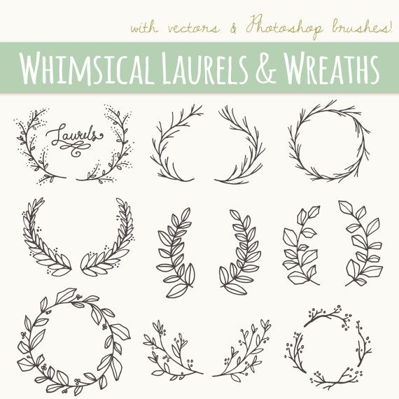 Whimsical Laurels & Wreaths Clip Art // Photoshop Brushes // Hand Drawn Vector // Flowers Blossoms Foliage Berry Berries // Commercial Use