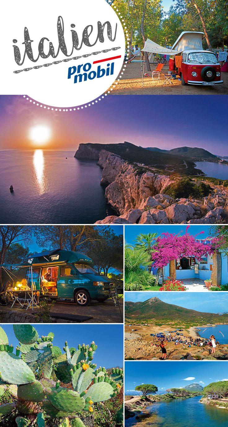 #Wohnmobil-Tour #Sardinien Auf der Insel der Träume 1850 Kilometer Küste mit türkisgrünem Wasser, bizarren Felsen, schnuckeligen Buchten und goldenen Sandstränden: #Sardinien ist ein Dorado für #Wohnmobil, die dem Alltag entfliehen wollen.