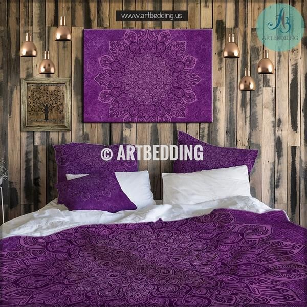 Mandala Bedding Purple Sacred Boho Duvet Cover Set Bohochic