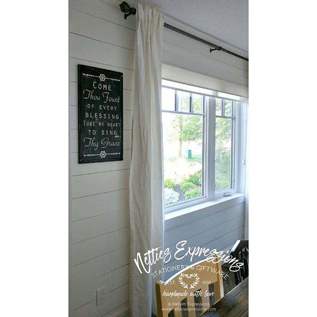Do you need ideas on how to display your wooden signs? This is a framed 12 x 24 sign. It fits nicely beside the window. The black adds a nice pop of color to the white plank walls.  Have you found the perfect place for your Netties Expressions sign(s)?