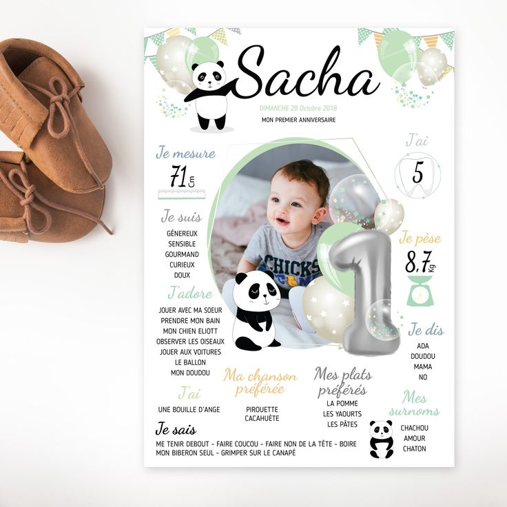 Affiche anniversaire pour enfant – Poster anniversaire fille et garçon- affiche anniversaire personnalisée – panda et ballons – 1 an bébé