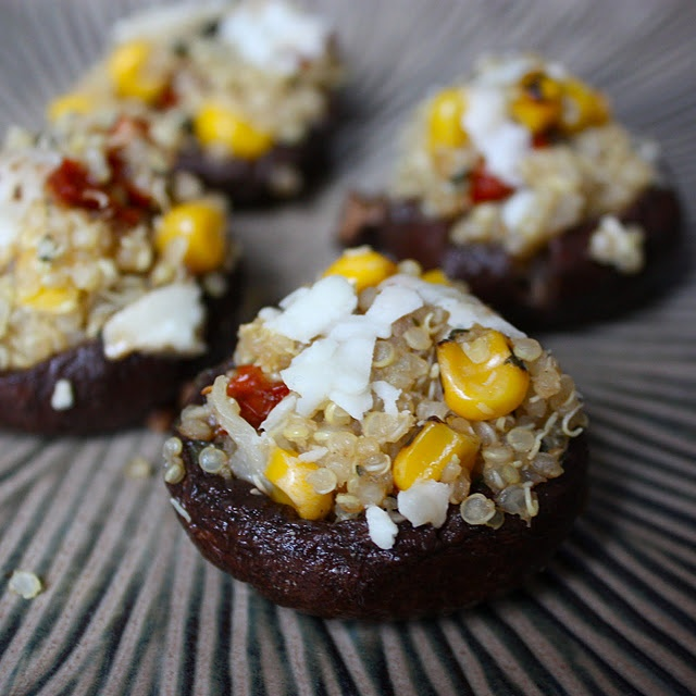 ... stuffed with quinoa, corn, sun-dried tomatoes, basil, and goat cheese