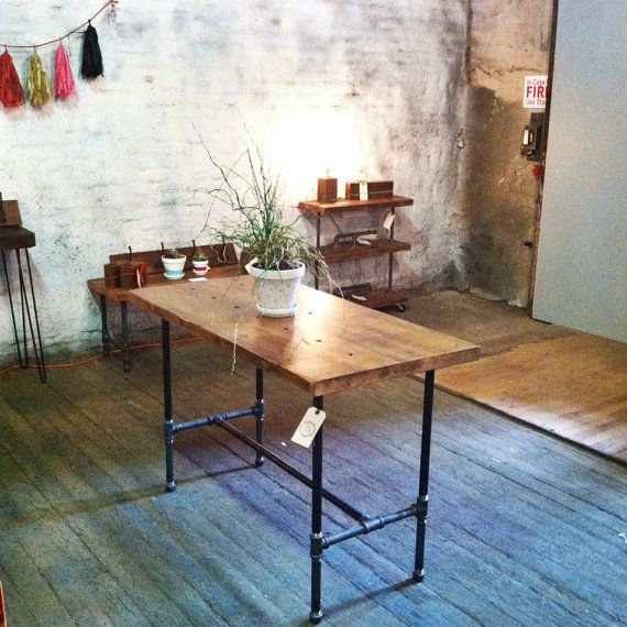 Reclaimed Wood Space Saver Table or Desk by TylerKingstonWoodCo can get it in counter height