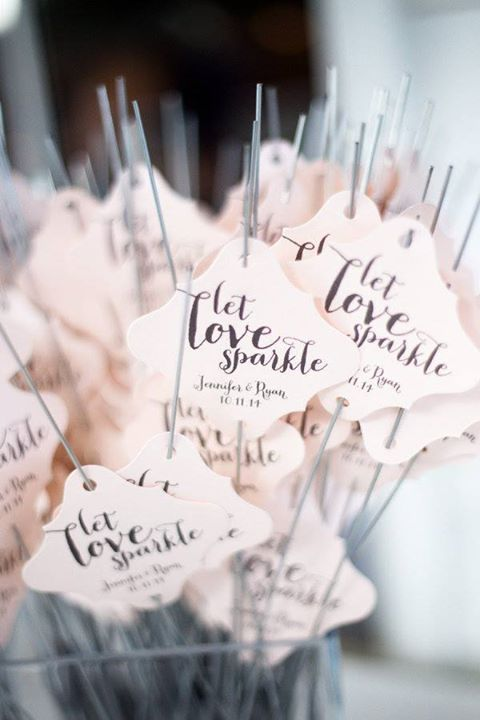 Sparklers are the perfect way to send off a couple and custom tags make them special ~ http://www.stylemepretty.com/georgia-weddings/2016/03/09/southern-rustic-meets-classic-country-club-wedding/