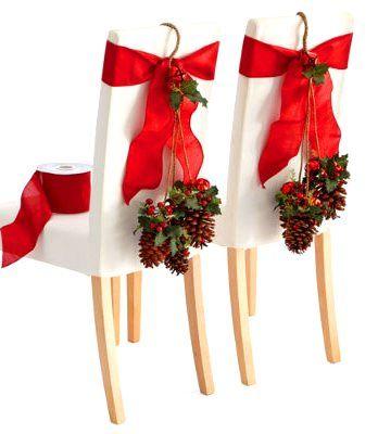 Christmas chair swags wide red ribbon & pinecones ToniK Տ℮ʈ ìʈ Up #Christmas table decoration ideas