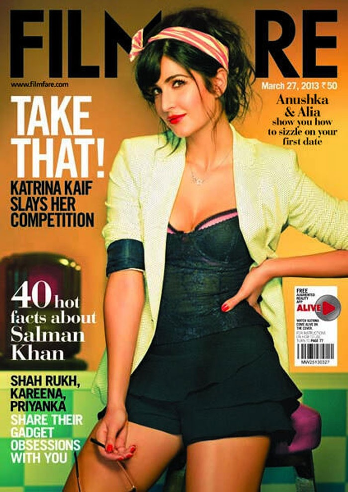 Katrina Kaif, no more Miss Nice Girl: We haven't really seen Katrina Kaif looking bolder than she does on the on the cover of Filmfare magazine's latest edition. The actress seems to have shed her prim and propah girl-next-door image and looks refreshingly different. The corset top with plunging neckline, tousled hair, red lipstick and nail paint teamed with the short skirt increase her hotness quotient. Way to go Katrina!